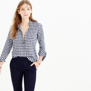 J. Crew Blue Crinkle Gingham Boy Shirt
